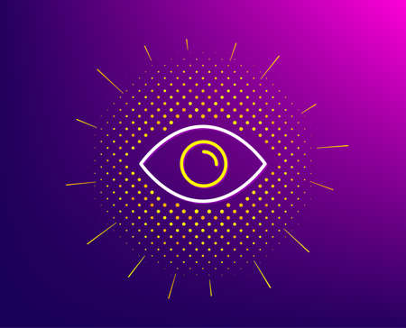 Eye line icon. Halftone pattern. Look or Optical Vision sign. View or Watch symbol. Gradient background. Eye line icon. Yellow halftone pattern. Vector  イラスト・ベクター素材