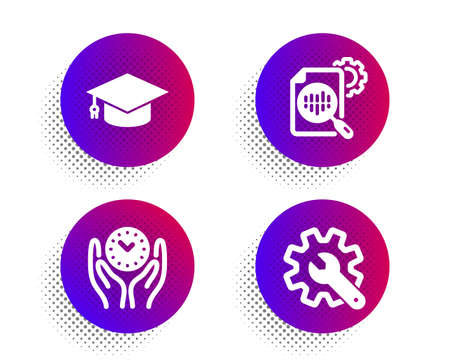 Seo stats, Graduation cap and Safe time icons simple set. Halftone dots button. Customisation sign. Cogwheel, University, Management. Settings. Science set. Classic flat seo stats icon. Vector Illustration