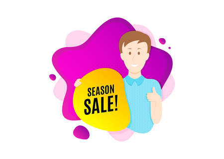 Season sale symbol. Cut out people badge. Special offer price sign. Advertising discounts symbol. Dynamic shape offer. Season sale text. Cut out people dynamic banner. Worker person badge. Vector