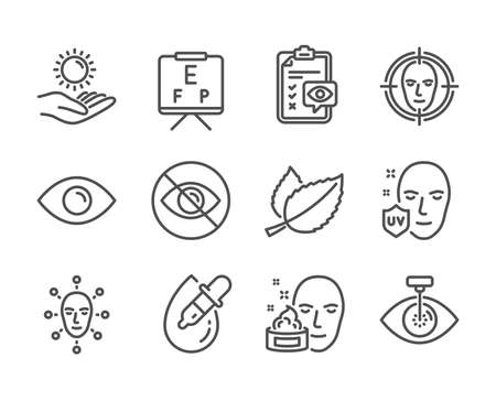 Set of Medical icons, such as Face cream, Eye, Not looking, Face detect, Sun protection, Vision board, Mint leaves, Eye checklist, Uv protection line icons. Gel, View or vision. Vector Ilustracja