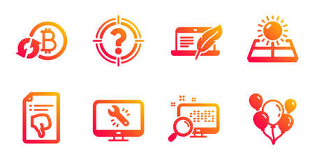 Monitor repair, Headhunter and Copyright laptop line icons set. Sun energy, Refresh bitcoin and Thumb down signs. Search, Balloons symbols. Computer service, Aim with question mark. Vector