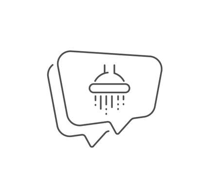 Shower line icon. Chat bubble design. Bathroom sign. Hotel service symbol. Outline concept. Thin line shower icon. Vector