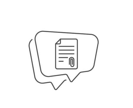 CV attachment line icon. Chat bubble design. Document file symbol. Outline concept. Thin line attachment icon. Vector