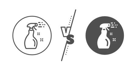 Washing liquid or Cleanser symbol. Versus concept. Cleaning spray line icon. Housekeeping equipment sign. Line vs classic cleaning spray icon. Vector