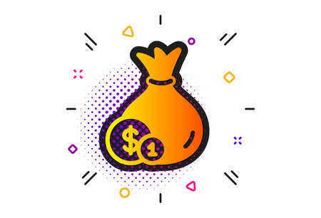 Cash Banking currency sign. Halftone circles pattern. Money bag with Coins icon. Dollar or USD symbol. Classic flat cash icon. Vector