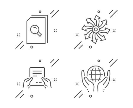 Search files, Receive file and Versatile line icons set. Organic tested sign. Magnifying glass, Hold document, Multifunction. Safe nature. Business set. Line search files outline icon. Vector