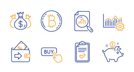 Checklist, Check investment and Wallet line icons set. Buy button, Bitcoin and Analytics graph signs. Operational excellence, Saving money symbols. Survey, Business report. Finance set. Vector Ilustração