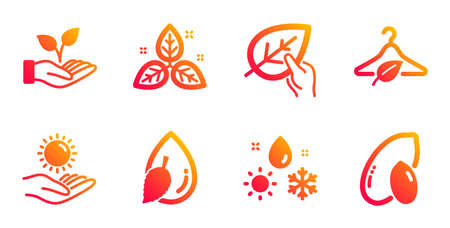 Water drop, Organic tested and Sun protection line icons set. Slow fashion, Helping hand and Fair trade signs. Weather, Peanut symbols. Mint leaf, Paraben. Nature set. Vector Stock Illustratie