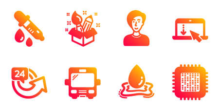 Businesswoman person, Bus and 24 hours line icons set. Chemistry pipette, Creativity and Water splash signs. Scroll down, Cpu processor symbols. Female user, Tourism transport. Business set. Vector