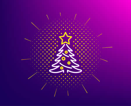 Christmas tree present line icon. Halftone pattern. New year spruce sign. Fir-tree symbol. Gradient background. Christmas tree line icon. Yellow halftone pattern. Vector
