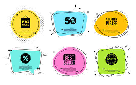 Attention please. Best seller, quote text. Special offer sign. Important information symbol. Quotation bubble. Banner badge, texting quote boxes. Attention please text. Coupon offer. Vector