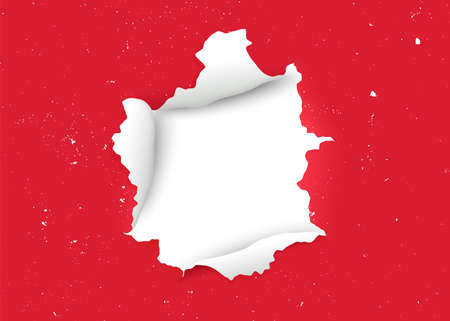 Torn paper realistic. Ragged hole in ripped paper on red background. Ripped, torn and disrupted effect. Old painted wall with crackling effect. Banner with hole. Vector