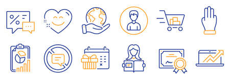 Set of Business icons, such as Woman read, Smile chat. Certificate, save planet. Report, Shopping cart, Discounts. Person, Three fingers, Sales diagram. Vector