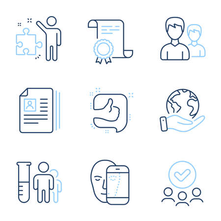 Cv documents, Like and Strategy line icons set. Diploma certificate, save planet, group of people. Medical analyzes, Couple and Face biometrics signs. Portfolio files, Thumb up, Business plan. Vector