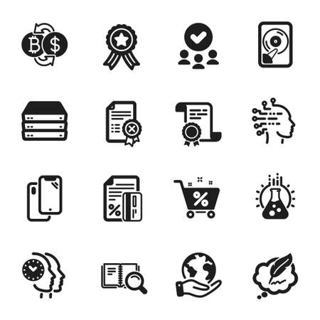 Set of Technology icons, such as Loan percent, Artificial intelligence. Certificate, approved group, save planet. Servers, Chemistry lab, Bitcoin exchange. Vector