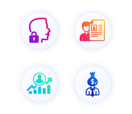 Career ladder, Job interview and Unlock system icons simple set. Button with halftone dots. Manager sign. Manager results, Cv file, Access granted. Work profit. People set. Vector