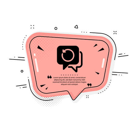 Recovery info icon. Quote speech bubble. Backup data sign. Restore information symbol. Quotation marks. Classic recovery data icon. Vector Vektorgrafik