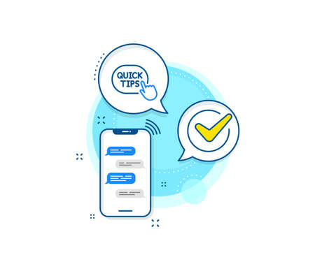 Helpful tricks sign. Phone messages complex icon. Quick tips click line icon. Messenger chat screen banner. Quick tips sign. Vector