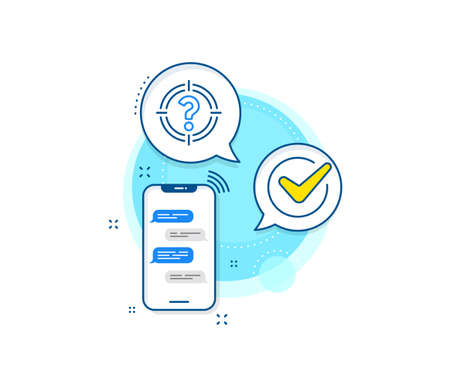 Aim symbol. Phone messages complex icon. Target with Question mark line icon. Help or FAQ sign. Messenger chat screen banner. Headhunter sign. Vector