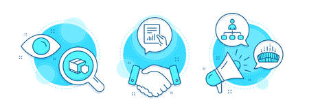 Delivery insurance, Arena stadium and Document line icons set. Handshake deal, research and promotion complex icons. Management sign. Parcel protection, Competition building, File with diagram. Vector Ilustracja