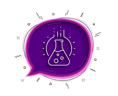 Chemistry lab line icon. Chat bubble with shadow. Laboratory flask sign. Analysis symbol. Thin line chemistry lab icon. Vector Stock Illustratie