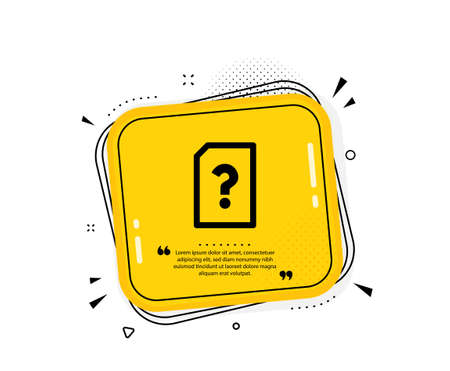 Unknown Document icon. Quote speech bubble. File with Question mark sign. Untitled Paper page concept symbol. Quotation marks. Classic unknown file icon. Vector