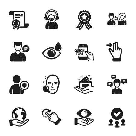 Set of People icons, such as Support, Rotation gesture. Certificate, approved group, save planet. Face search, Conversation messages, Education. Eye drops, Security, Valet servant. Vector
