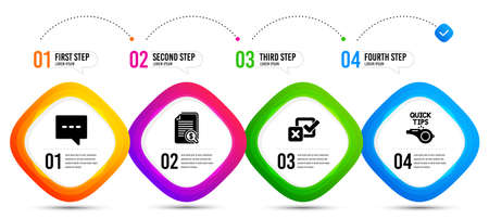 Checkbox, Blog and Financial documents icons simple set. Timeline infographic. Tutorials sign. Survey choice, Chat message, Check docs. Quick tips. Education set. Vector