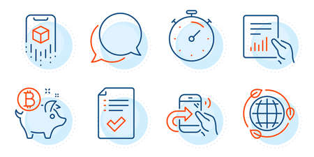 Chat message, Document and Share call signs. Bitcoin coin, Approved checklist and Eco energy line icons set. Augmented reality, Timer symbols. Piggy bank, Accepted message. Technology set. Vector