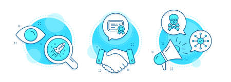 Survey check, Certificate and Chemical hazard line icons set. Handshake deal, research and promotion complex icons. Startup rocket sign. Correct answer, Verified document, Toxic death. Vector