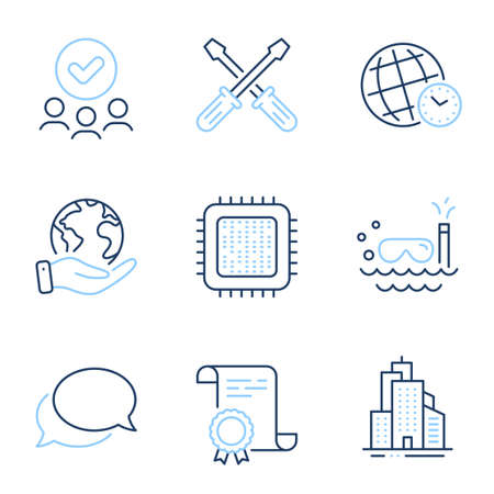 Cpu processor, Messenger and Skyscraper buildings line icons set. Diploma certificate, save planet, group of people. Scuba diving, Screwdriverl and Time zone signs. Vector Иллюстрация