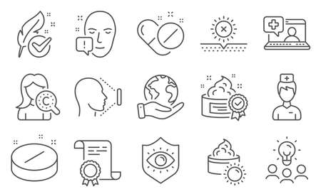 Set of Healthcare icons, such as Collagen skin, Face id. Diploma, ideas, save planet. Medical tablet, Medical pills, Eye protection. Doctor, Face attention, Cream. Vector Ilustracja
