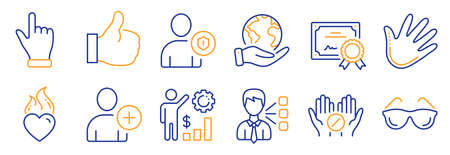 Set of People icons, such as Like, Click hand. Certificate, save planet. Add user, Heart flame, Eyeglasses. Security, Medical tablet, Employees wealth. Hand, Third party line icons. Vector Illustration