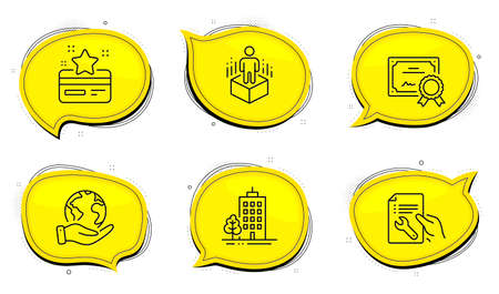 Augmented reality sign. Diploma certificate, save planet chat bubbles. Repair document, Skyscraper buildings and Loyalty card line icons set. Spanner tool, Town architecture, Bonus points. Vector Ilustrace