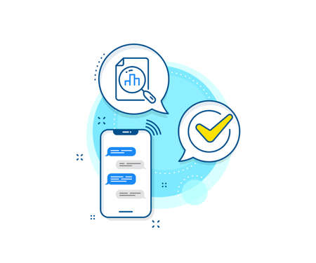 Column chart sign. Phone messages complex icon. Analytics graph line icon. Growth diagram symbol. Messenger chat screen banner. Analytics graph sign. Vector