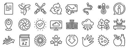 Turbine, Wind, Thermostat icons. Company building, Vocabulary, Profits timeline line icons. Tree, Bacteria, Healthy food. Company chart, wind turbine. Cloud services, Timeline, Download. Vector