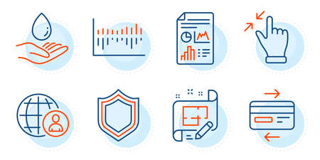 Touchscreen gesture, Security and International recruitment signs. Architect plan, Report document and Column diagram line icons set. Credit card, Water care symbols. Outline icons set. Vector