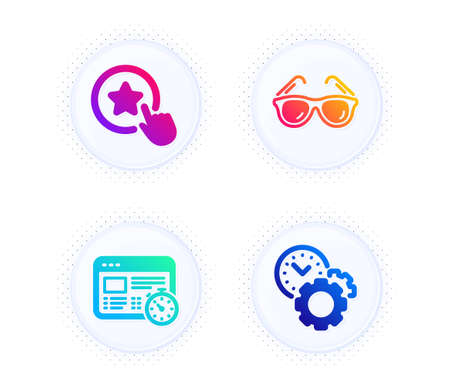 Web timer, Loyalty star and Sunglasses icons simple set. Button with halftone dots. Time management sign. Online test, Bonus reward, Travel glasses. Settings. Business set. Vector Ilustrace