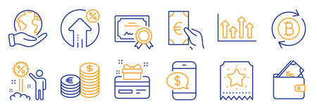 Set of Finance icons, such as Discount, Loyalty ticket. Certificate, save planet. Loan percent, Currency, Refresh bitcoin. Loyalty card, Upper arrows, Wallet. Finance, Phone payment line icons. Vector