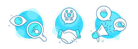 Friends couple, Heart and Swipe up line icons set. Handshake deal, research and promotion complex icons. Myopia sign. Friendship, Love, Touch down. Eye vision. People set. Vector Vectores