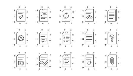 Report, Checklist and Download file. Document line icons. Read message linear icon set. Geometric elements. Quality signs set. Vector