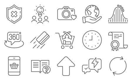 Set of Technology icons, such as Reject protection, Help. Diploma, ideas, save planet. Roller coaster, Cross sell, Smartphone buying. Credit card, Clock, 360 degree. Vector