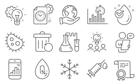 Set of Science icons, such as No alcohol, Snowflake. Diploma, ideas, save planet. Water drop, Graph phone, Recovery trash. Project deadline, Chemistry lab, Idea gear. Vector