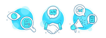 360 degrees, Report checklist and Checklist line icons set. Handshake deal, research and promotion complex icons. Ab testing sign. Full rotation, Sales growth file, Survey. Test chat. Vector Ilustracja