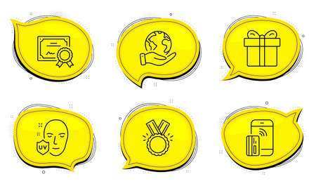 Honor sign. Diploma certificate, save planet chat bubbles. Contactless payment, Gift box and Uv protection line icons set. Phone money, Present package, Ultraviolet. Medal. Business set. Vector