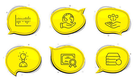 Education sign. Diploma certificate, save planet chat bubbles. Recovery server, Consolidation and Column diagram line icons set. Backup data, Strategy, Sale statistics. Human idea. Science set. Vector