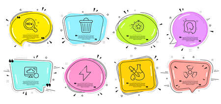 Timer, Chemical hazard and Trash bin signs. Speech bubbles with quotes. New products, Energy and Head line icons set. Recovery cloud, Chemistry experiment symbols. Search, Thunderbolt. Vector