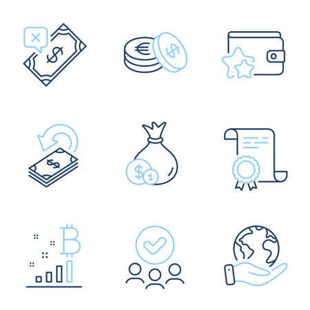 Bitcoin graph, Rejected payment and Cashback line icons set. Diploma certificate, save planet, group of people. Savings, Cash and Loyalty program signs. Vector