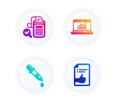 Online statistics, Bill accounting and Chemistry pipette icons simple set. Button with halftone dots. Approved document sign. Computer data, Audit report, Laboratory. Like symbol. Vector Illustration