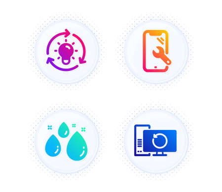 Smartphone repair, Water drop and Idea icons simple set. Button with halftone dots. Recovery computer sign. Phone recovery, Aqua, Lightbulb. Backup info. Business set. Vector